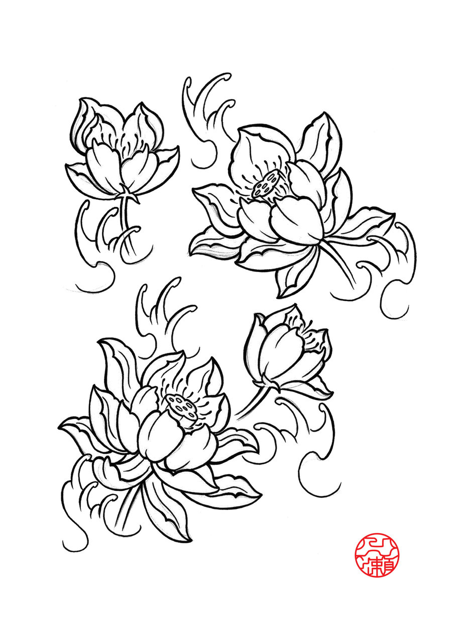 900x1273 Black Lotus Flower Tattoo Flash By Itinoshe Kenji