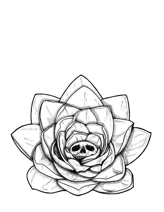 570x738 Meditate Amp Destroy Zen Yogi Lotus Skull Flower Black And White