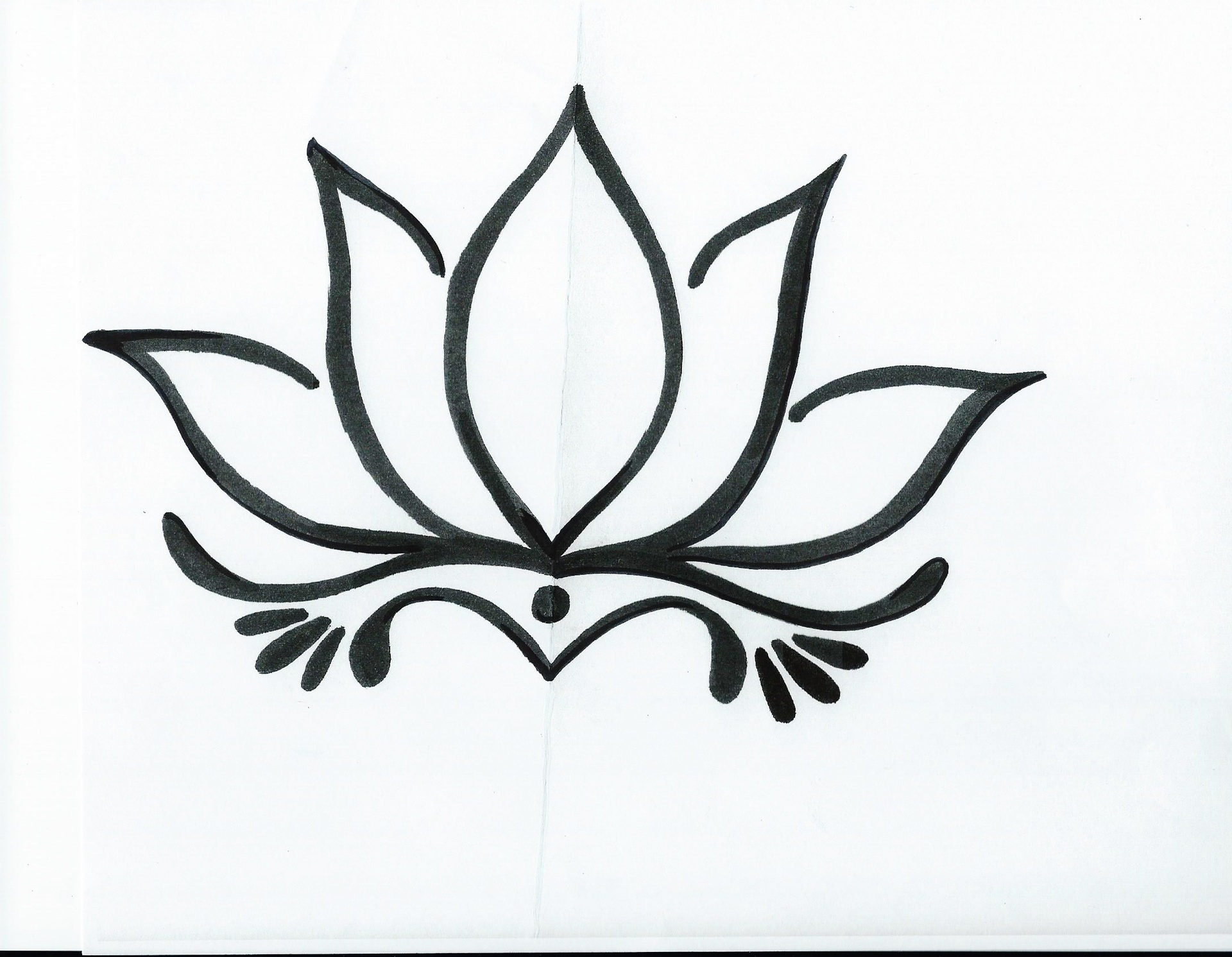 It is a picture of Ambitious Lotus Flower Drawing Sketch