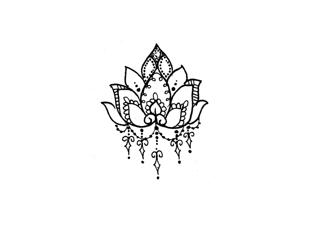 Lotus Flower In Water Drawing