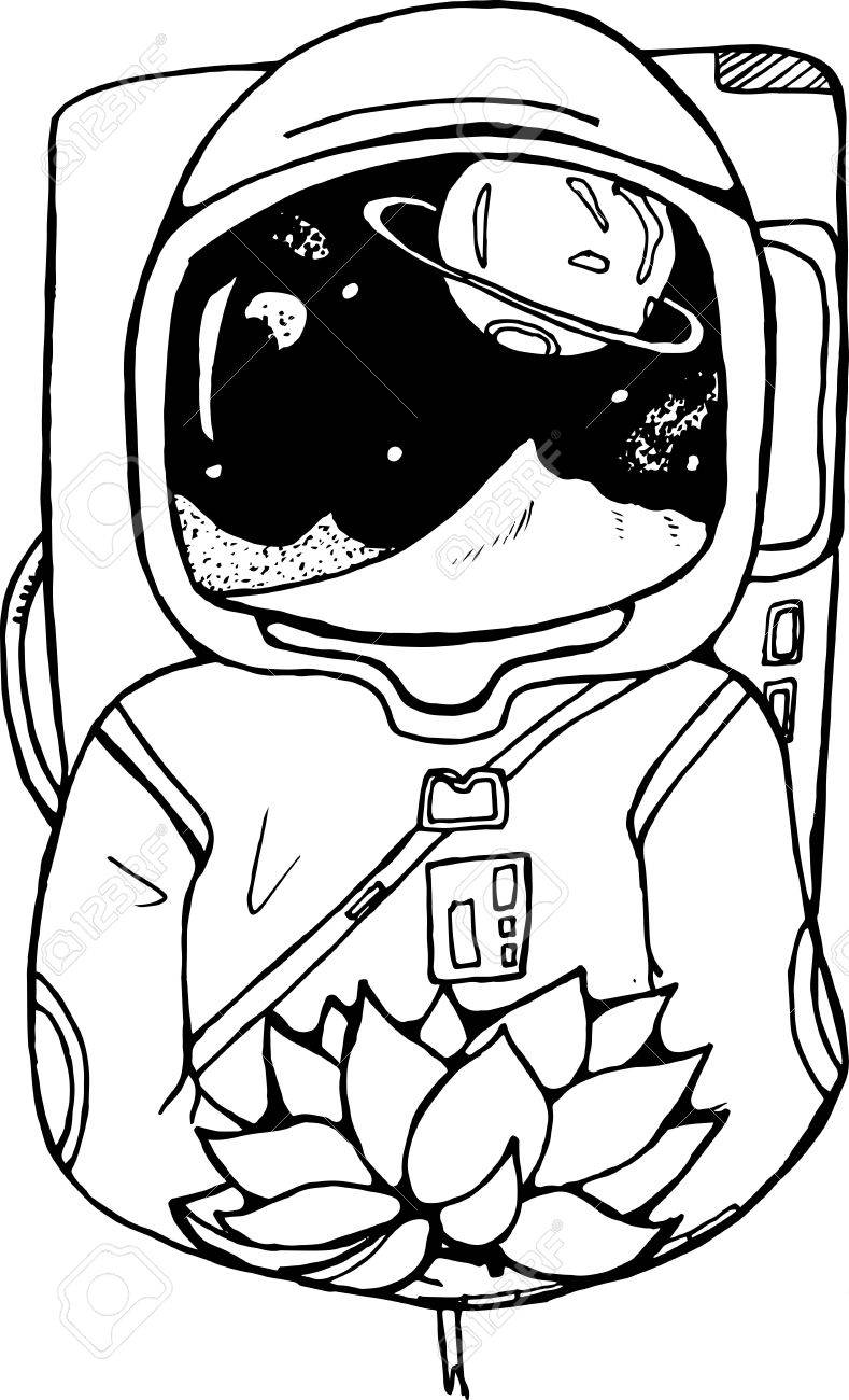 789x1300 Black And White Drawing Of An Astronaut With A Lotus In His Hands