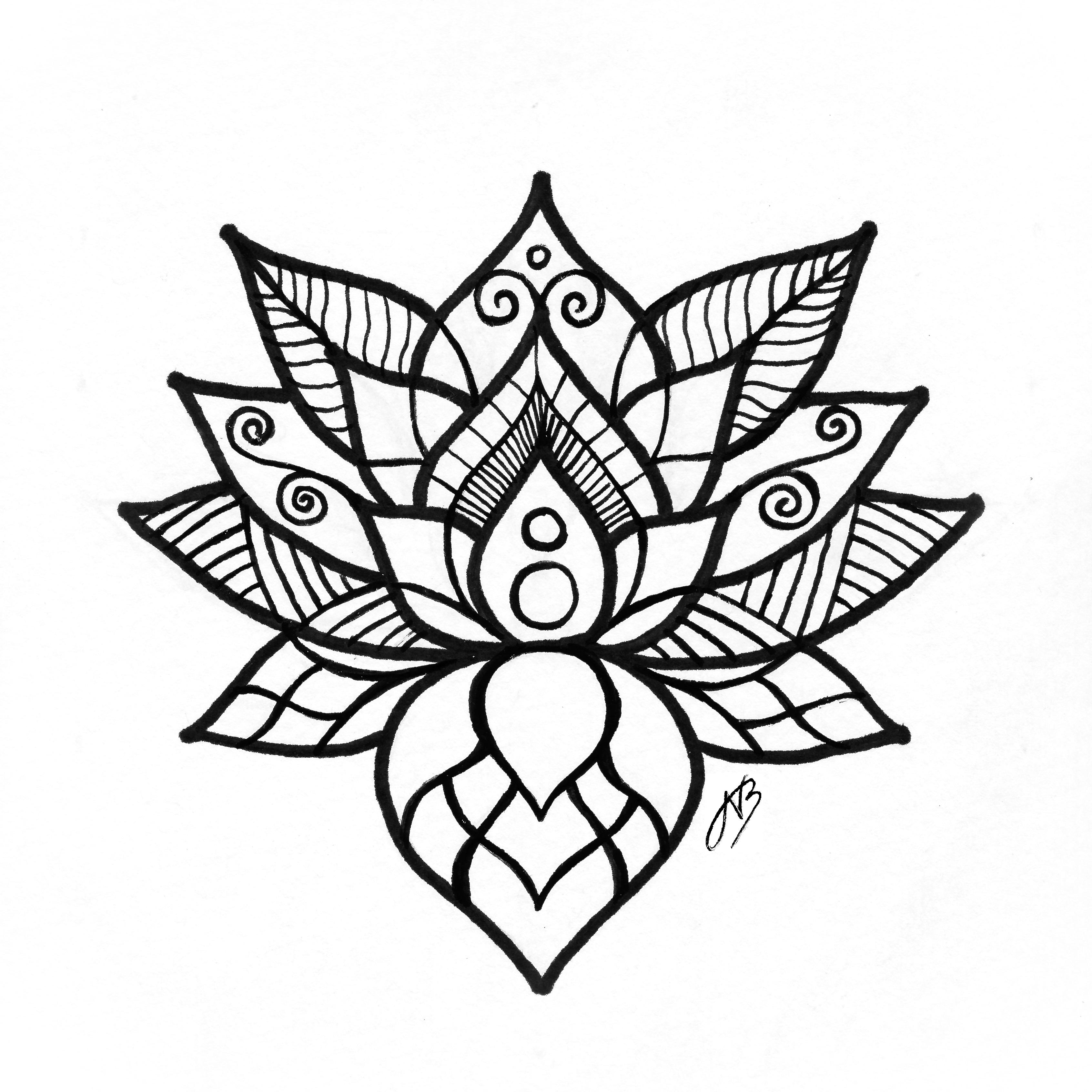 3384x3384 Lotus Drawing Nienke Arthentic Art