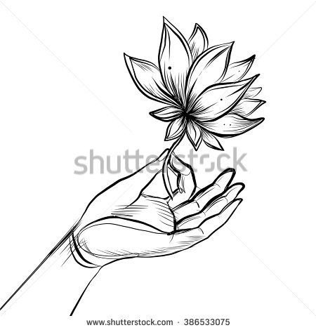 450x470 Lord Buddha's Hand Holding Lotus Flower. Isolated Vector
