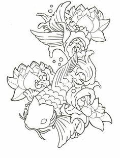 236x311 Koi Fish And Lotus Flower Drawing