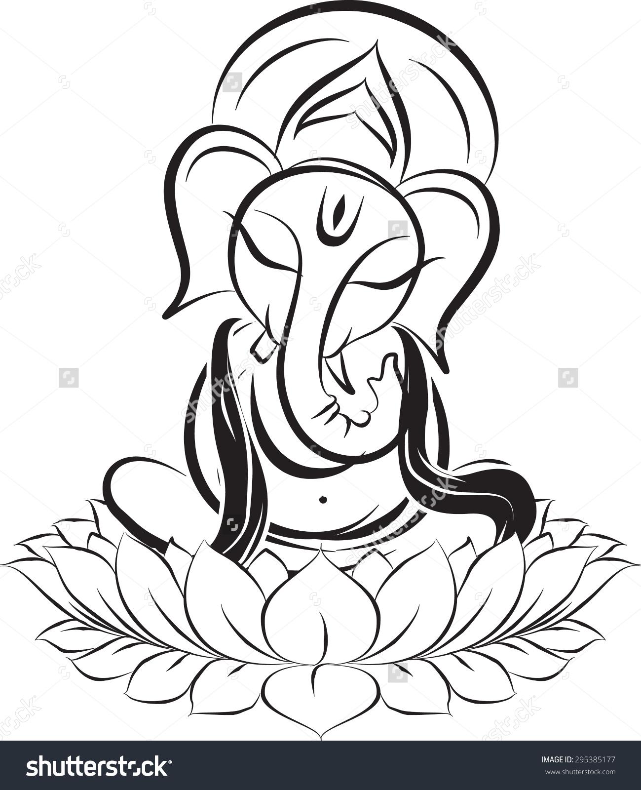 1299x1600 Lord Ganesha On Lotus, Monochrome Stock Vector Illustration