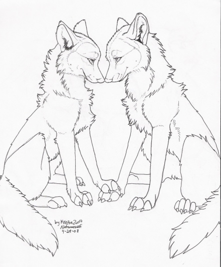 441x533 free to color only wolf love lineart by natsumewolf on deviantart