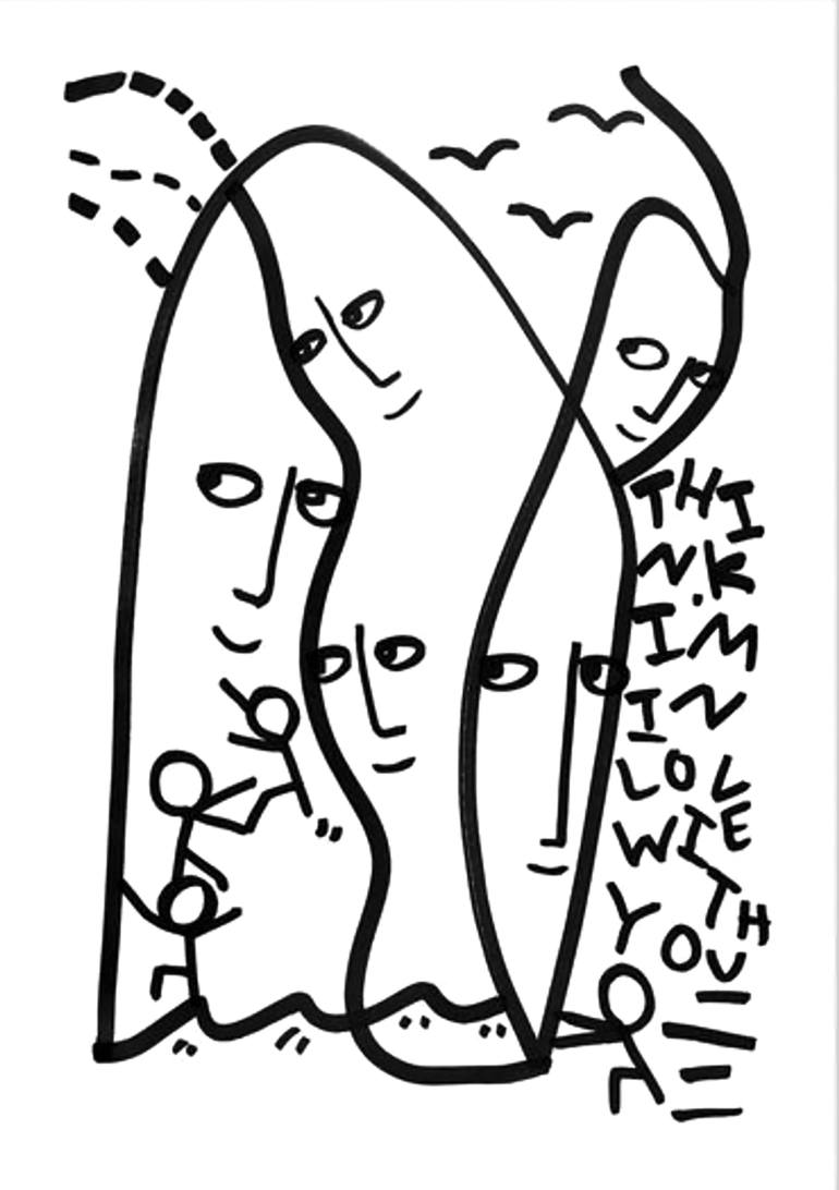 770x1092 Saatchi Art Think I'M In Love With You Drawing By Shantell Martin