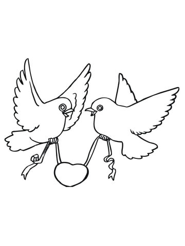 360x480 Love Birds With Hearts Coloring Page Free Printable Coloring Pages