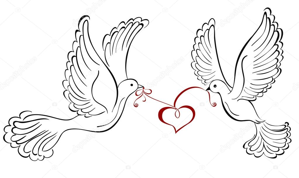 1023x609 Two Love Birds With Heart Shaped Stock Vector Marina99
