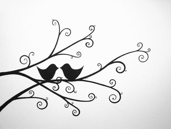 585x440 Love Birds Drawing