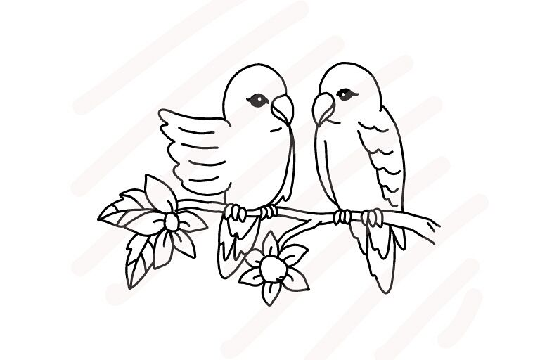 768x512 Love Birds Line Drawing