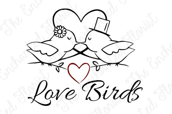 570x379 Love Birds Svg, Valentines Day Cutting File. Bridal Cutting File