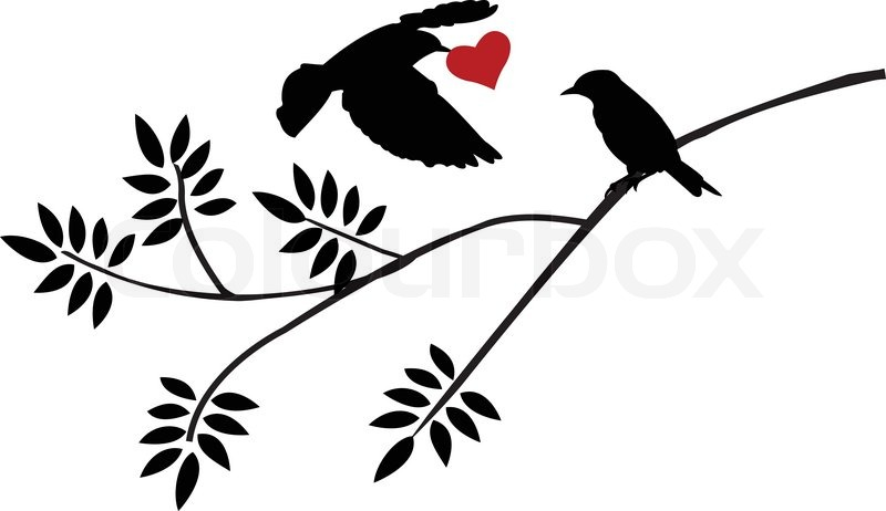 800x462 Love Birds Silhouette Vector Illustration Of Flying Bird