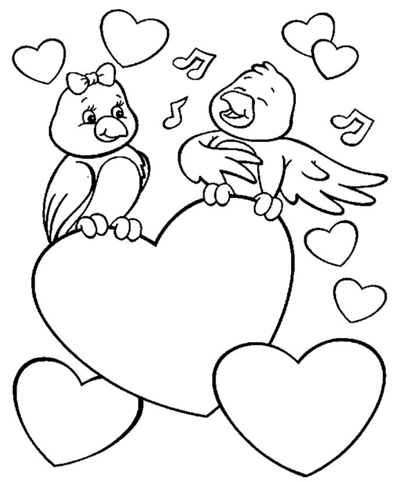 580x696 9 Images Of Love Birds Valentine's Coloring Page