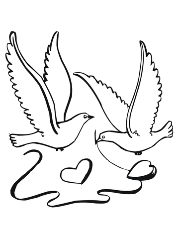 360x480 Lovebirds With Hearts Coloring Page Free Printable Coloring Pages