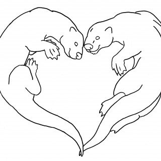320x320 Tag For Cute Love Birds Drawings Otters In Love Embroidery