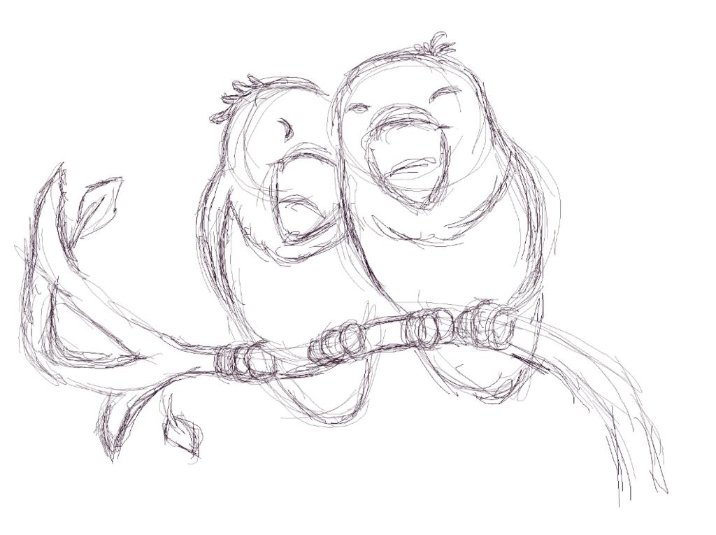 1024x765 Love Birds (Sketch) By Disneylover1812