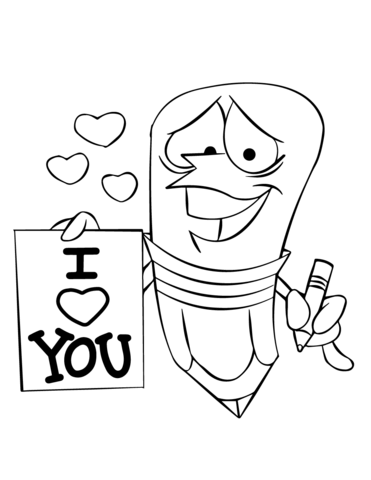 371x480 Cartoon Pencil Character Holding An I Love You Sign Coloring