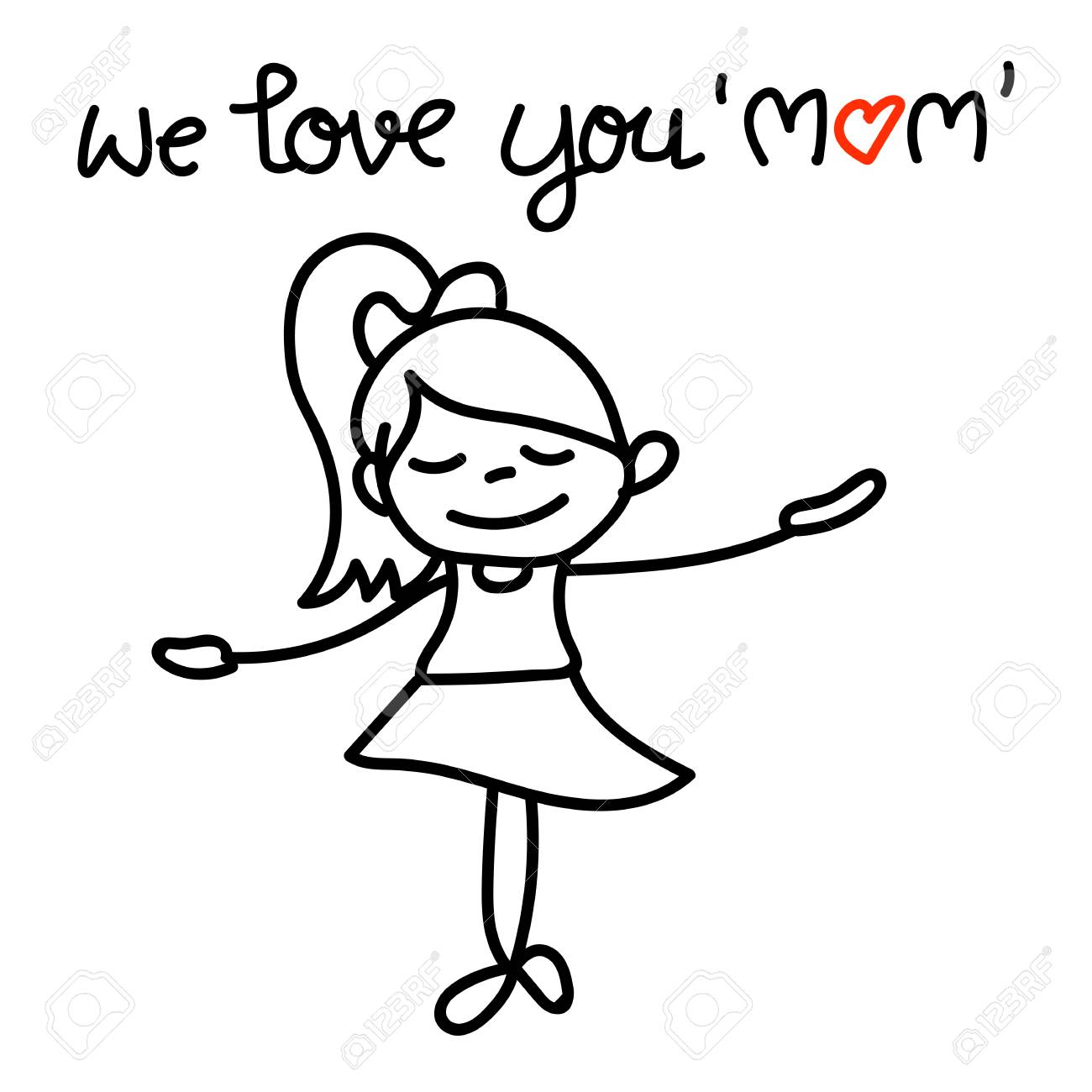 1300x1300 Hand Drawing Cartoon Character Concept Happy Mothers Day. Happy