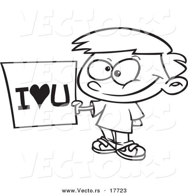 600x620 Vector Of A Cartoon Boy Holding An I Love You Sign