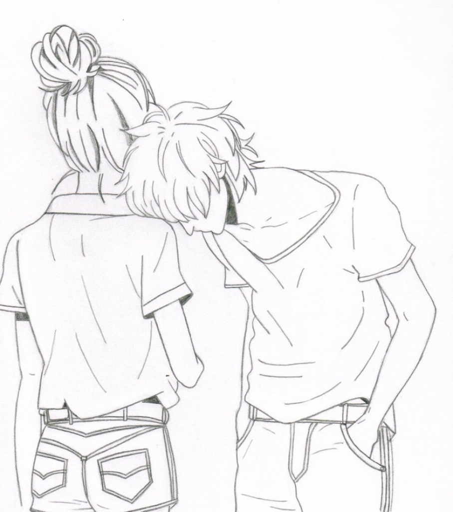 907x1024 Cute Couple Drawings Cute Love Drawings Pencil Art Hd Romantic