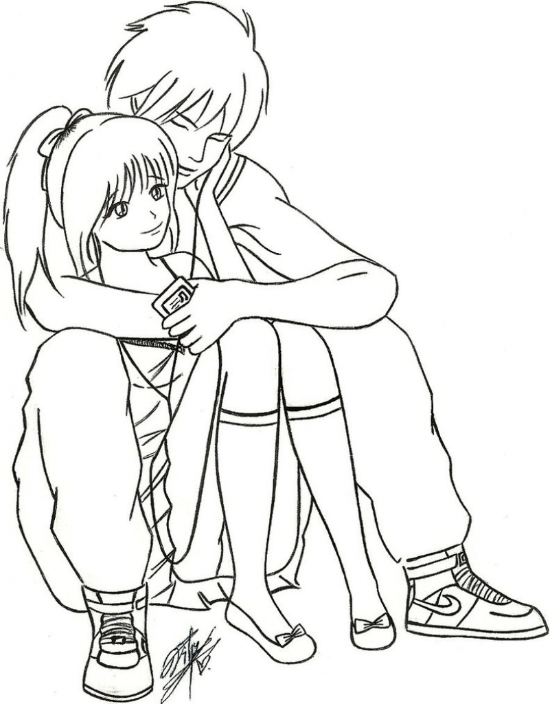 801x1024 Anime Sketch Love Couple