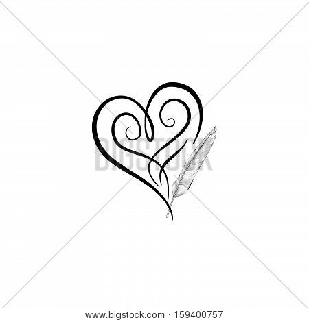 450x470 Love Heart Drawn By Feather Pen. Vector Amp Photo Bigstock