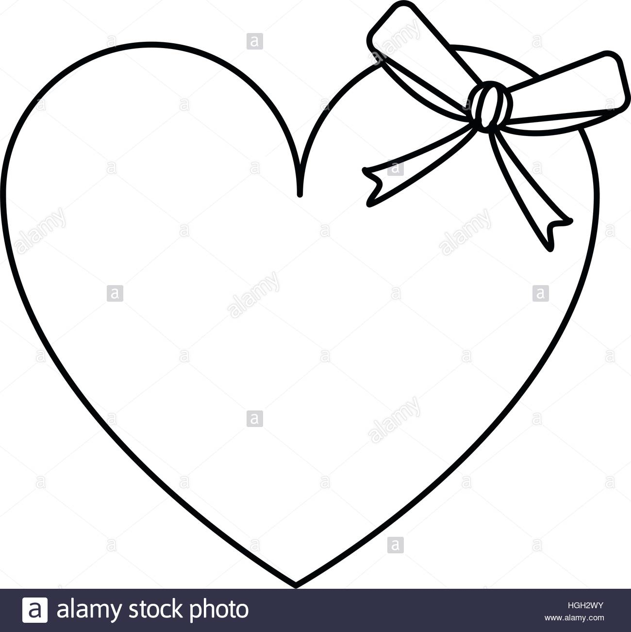1300x1301 Cute Love Heart Passion With Bow Line Stock Vector Art