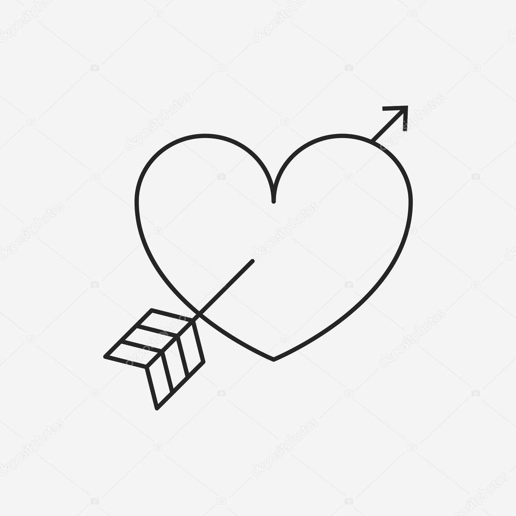 1024x1024 Love Heart Line Icon Stock Vector Vectorchef