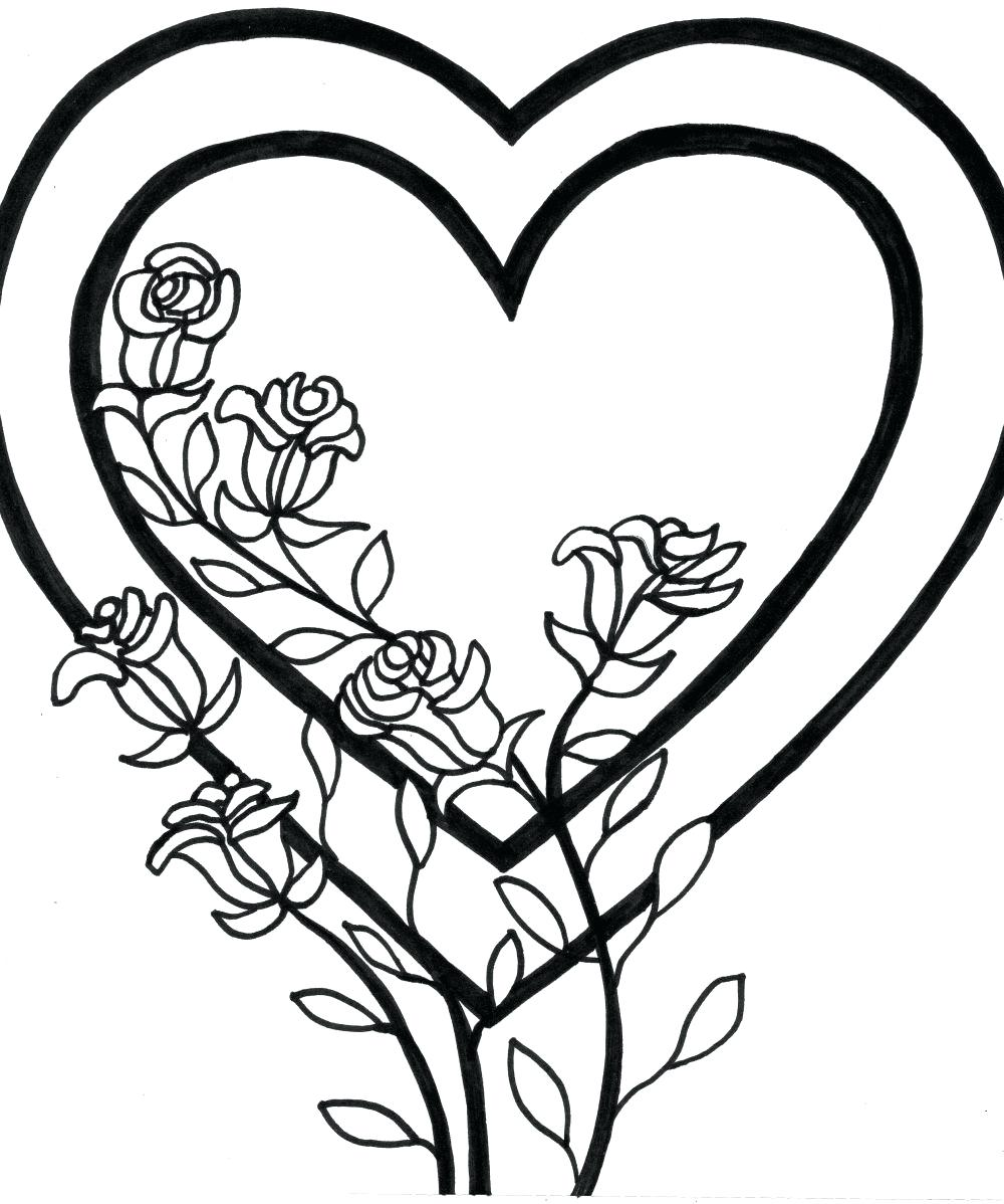 1000x1198 Printable Printable Love Hearts Coloring Roses Pictures Free
