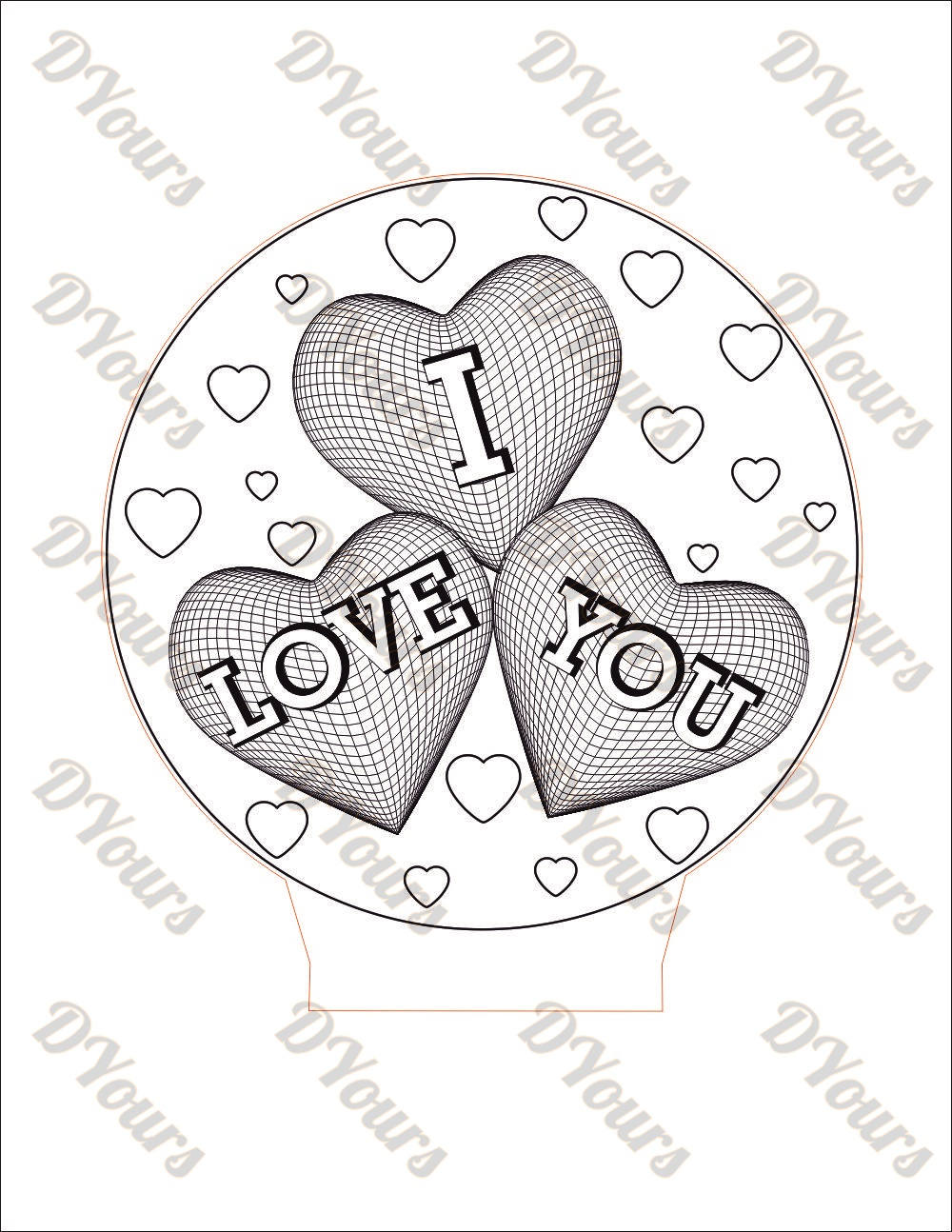 1000x1294 I Love You 3d Lamp Vector Model Heart Shaped Svg Cdr Pdf Dxf
