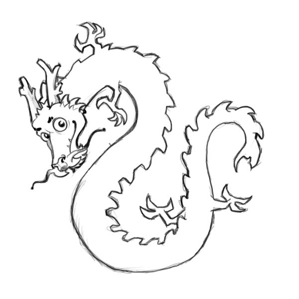 600x600 Chinese Dragon Drawing