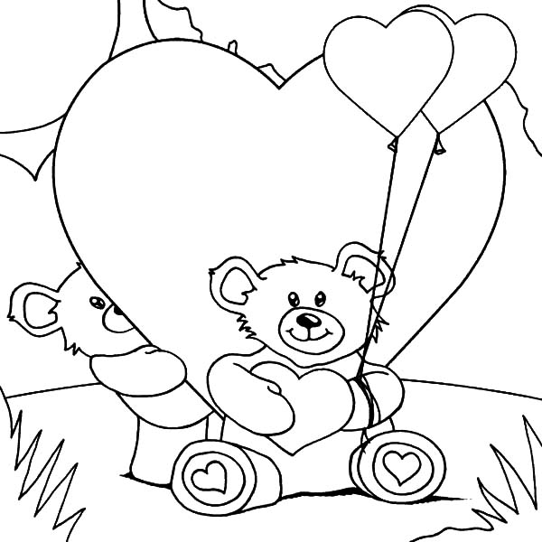 600x600 I Love You Teddy Bear Coloring Pages Teddy Bear With Heart