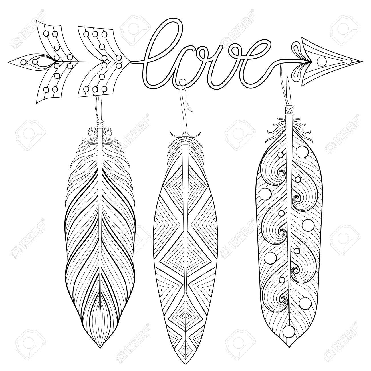 1300x1300 Bohemian Arrow, Hand Drawn Amulet Wih Word Love And Feathers