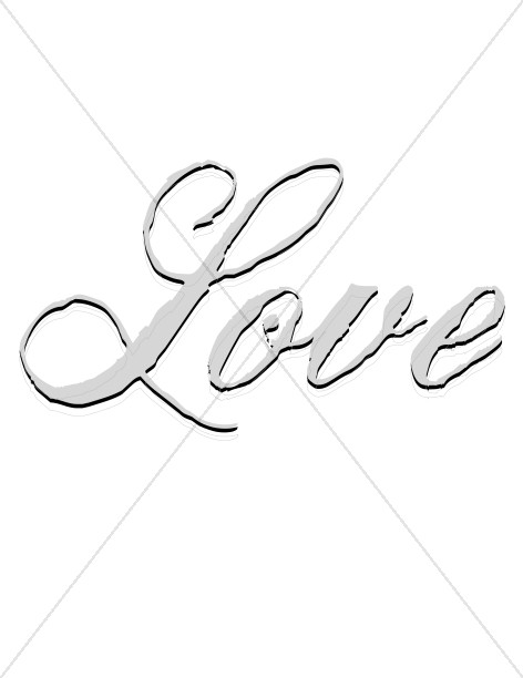 472x612 Rugged Love Script Shadow Religious Love Word Art