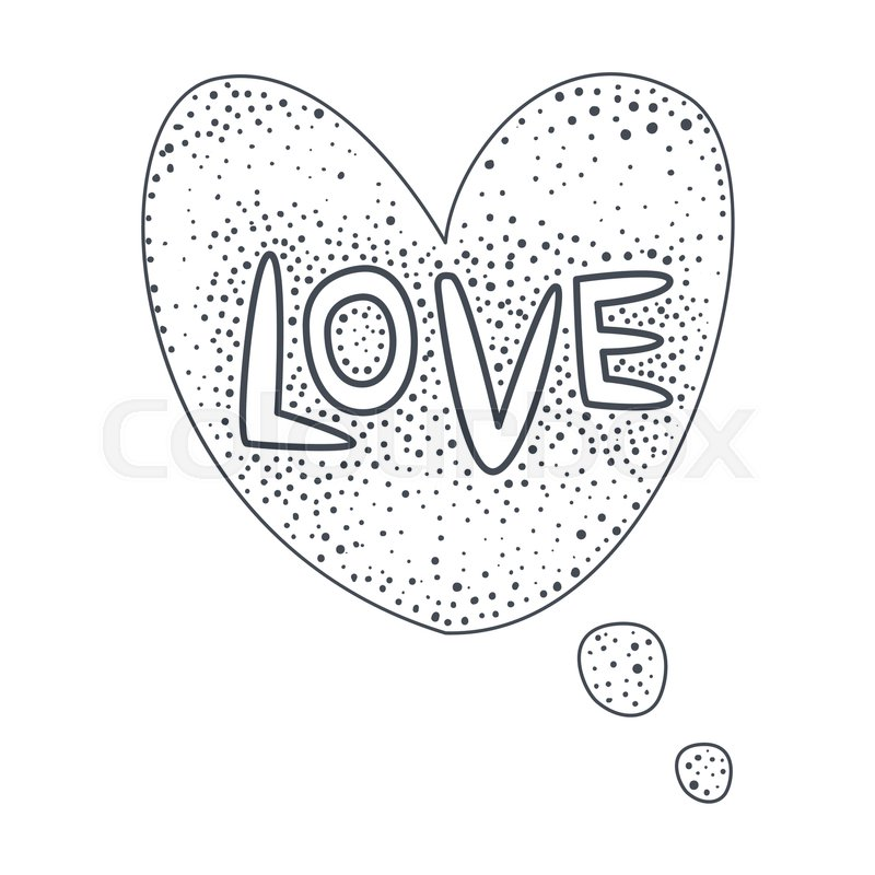 800x800 Word Love, Hand Drawn Comic Speech Bubble Template, Isolated Black