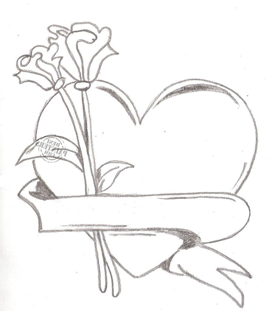 872x1000 Heart And Rose Drawings In Pencil Group