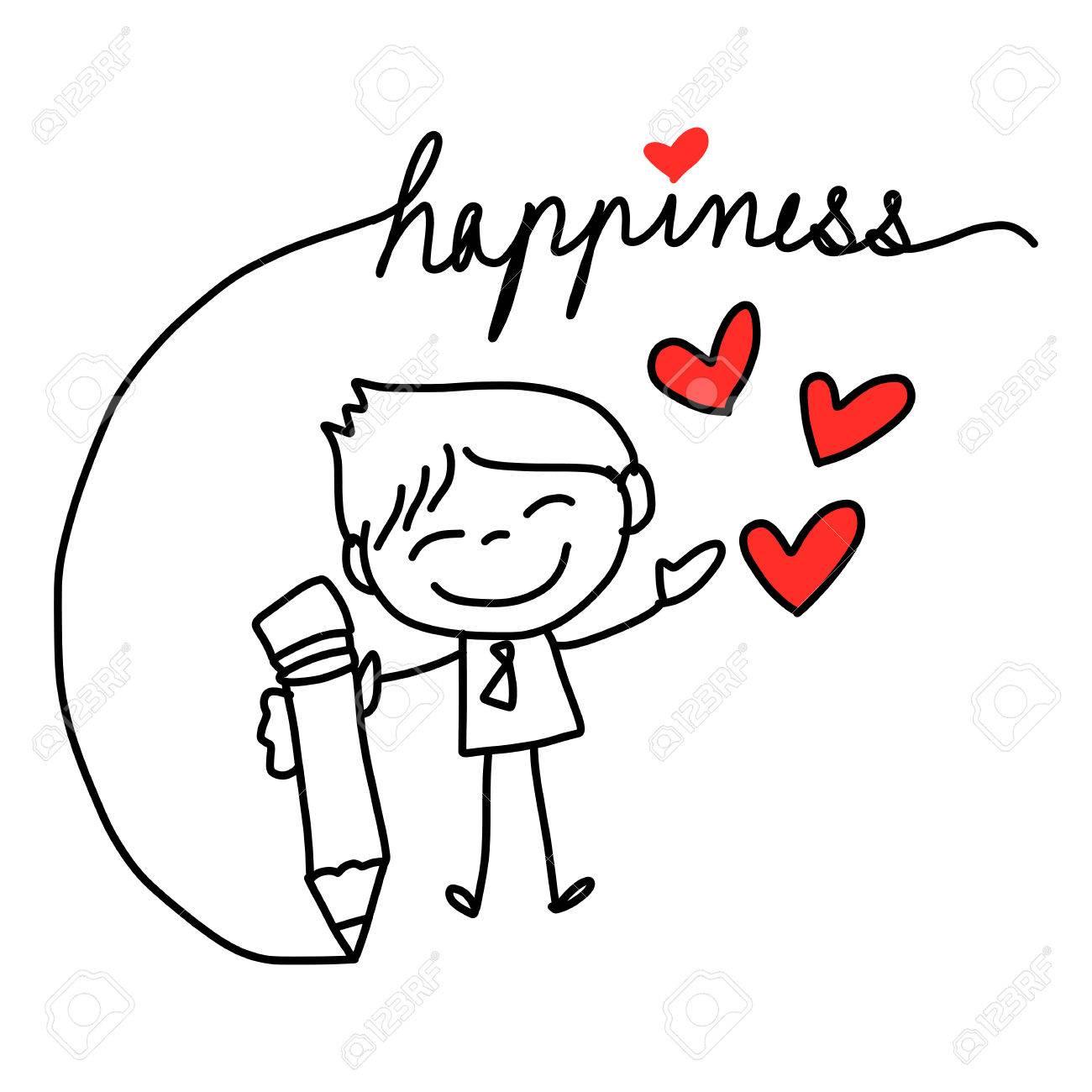 1300x1300 Hand Drawing Cartoon Character Happy Lovers Wedding Royalty Free