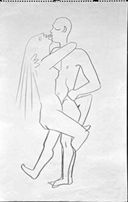 254x400 Artist Jean Cocteau Drawing Lovers, Michel Fillion Gallery.