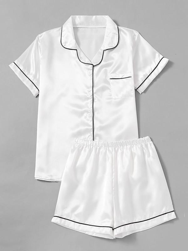 600x799 Contrast Piping Satin Pajama Set Shein(Sheinside)