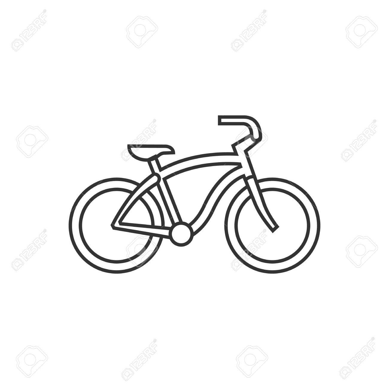 1300x1300 Low Rider Bicycle Icon In Thin Outline Style. Sport Transportation