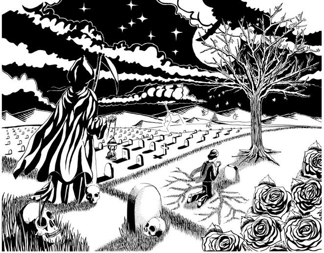 662x517 India Ink Art Death Theme