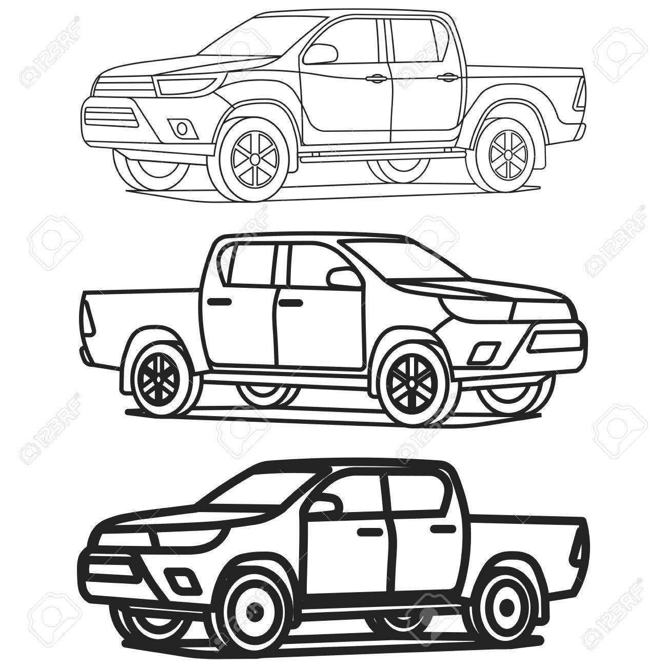 1300x1300 Pickup Truck Outline On White Background Vector Illustration