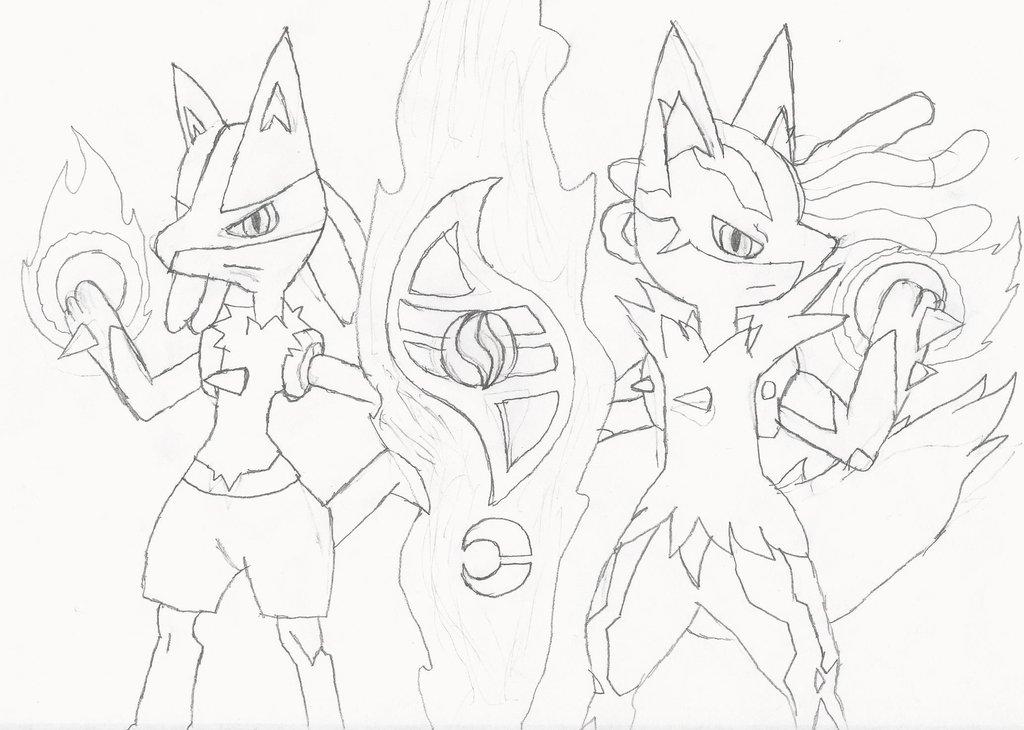 1024x730 Lucario And Mega Lucario Combo Artwork (Drawing) By E 001