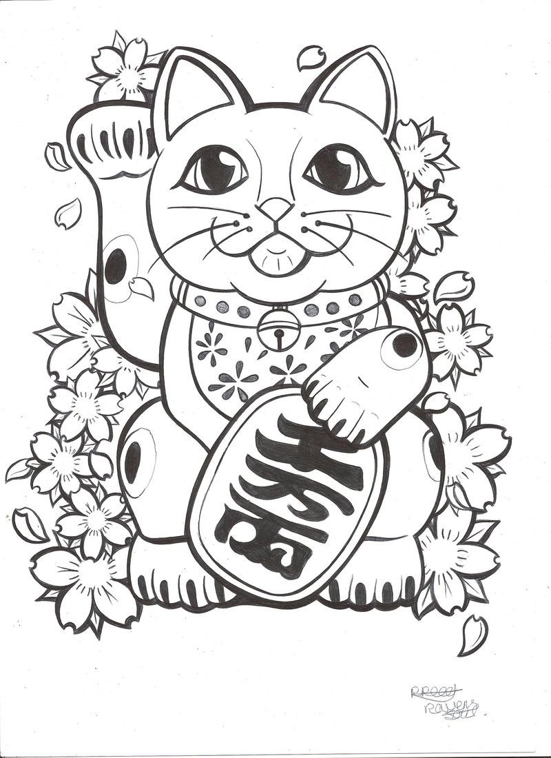 800x1100 Lucky Cat Tattoo Commission By