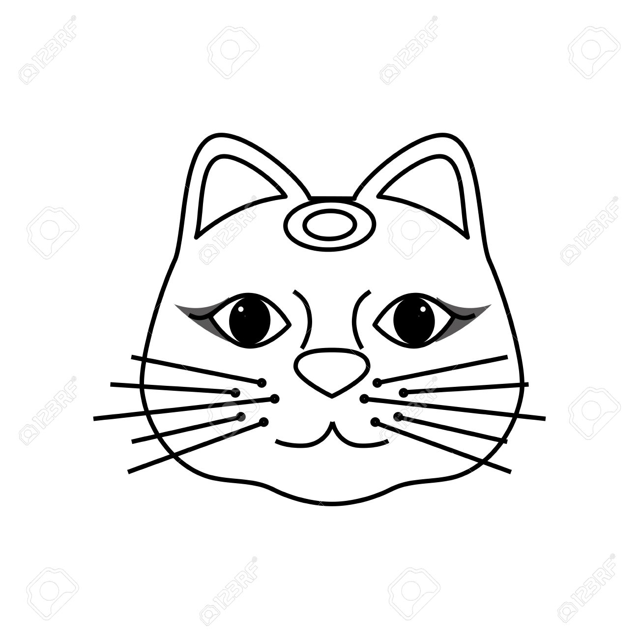 1300x1300 Maneki Neko Lucky Cat Icon Vector Illustration Graphic Design