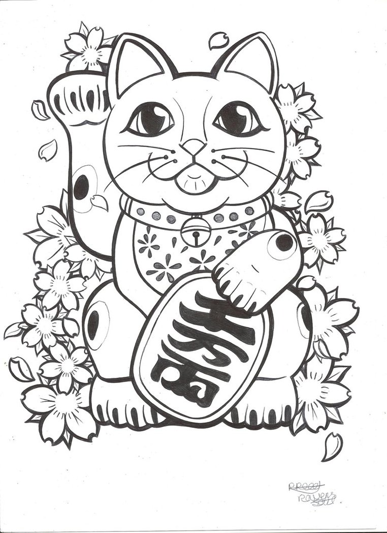 762x1048 Lucky Cat Coloring Pages