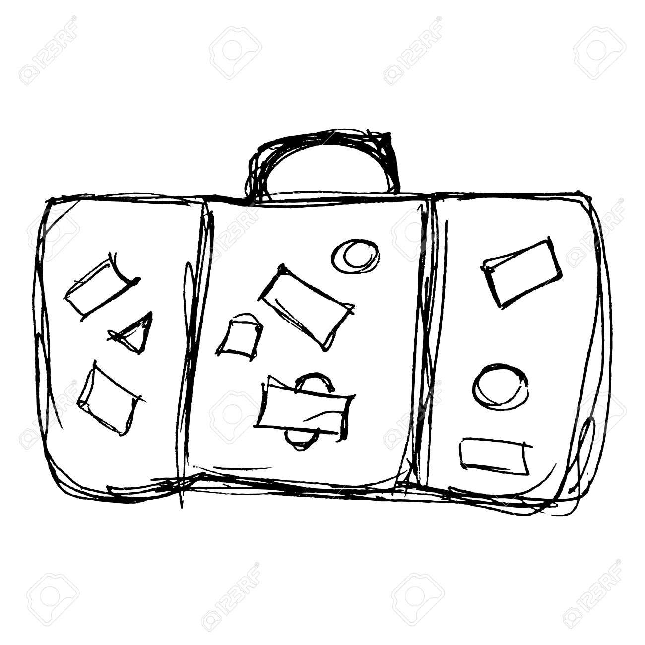 1300x1300 Hand Drawn Illustration Of An Old Suitcase Royalty Free Cliparts