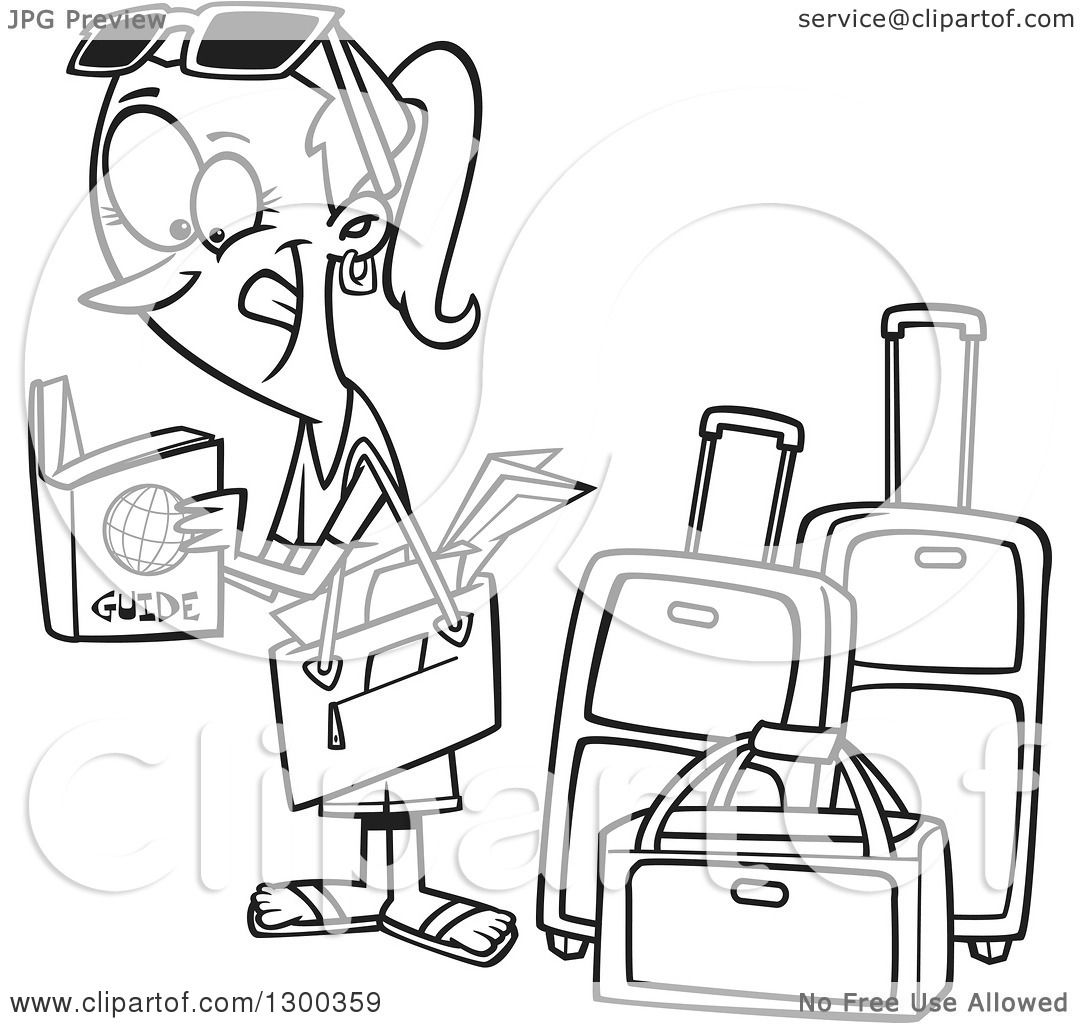 1080x1024 Lineart Clipart Of A Cartoon Black And White Excited Traveling