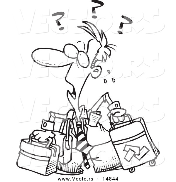 600x620 Vector Of A Cartoon Confused Businessman With Luggage